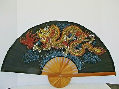 """Vintage Large Folding Fan Chinese Japanese Bamboo on Silk Hand Painted 30"""" wide"""