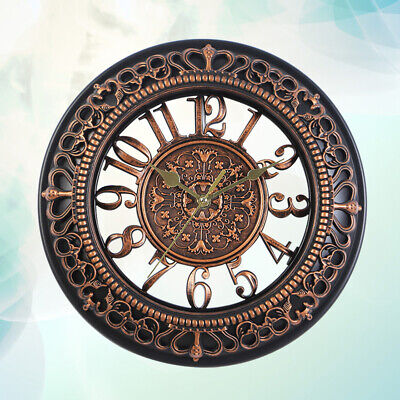 1pc Silent Vintage Hollowed-out Dial Decorative Round Wall Clock for Living Room