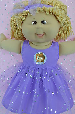 "Play n Wear Dolls Clothes To Fit 16"" Cabbage Patch LILAC SEQUIN DRESS~HEADBAND"