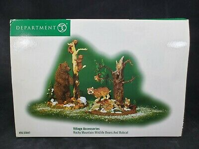 Department 56 Village Accessories Rocky Mountain Wildlife Bears and Bobcat