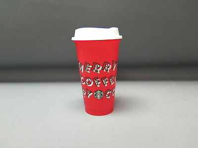 2019 Starbucks Winter Holiday 16 oz. Red Merry Coffee Reusable Cup w/ Lid