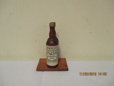 "Vintage ""JAs. Hennessy & Co"", ""Candle"" Wood Cocktail Napkin Holder  3 x 4-1/2"""