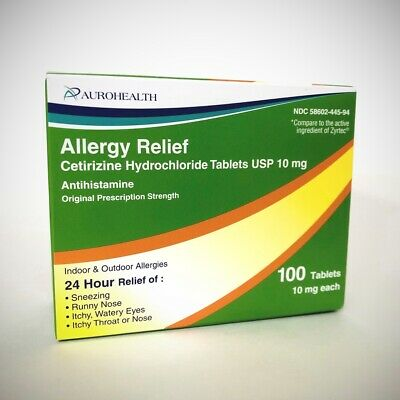 Cetirizine 10mg for Allergy - by Aurohealth - 100 Tablets