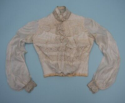 Antique Victorian Cream silk and lace bodice by M Robinson & Co Stockton-on-tees
