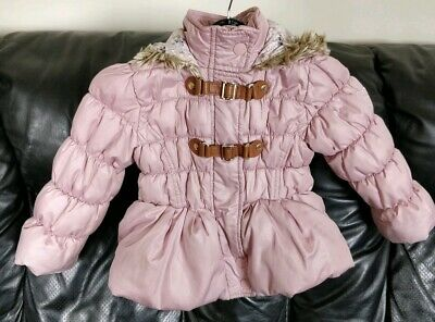 Next Pink Girls Hooded Winter Jacket, Age 2-3