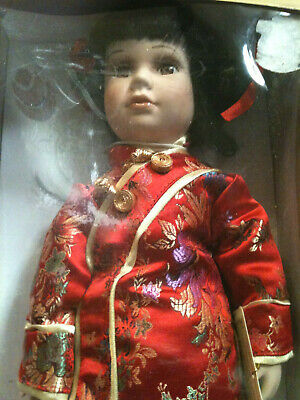 """The Heirloom Collection 16"""" Porcelain Doll w/Stand Chinese Oriental Outfit Box"""