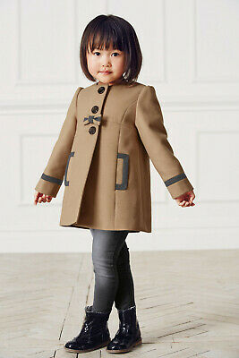Girls Next Camel Framed Collarless Jacket/Coat, bow detail - Size 1.5-2 years