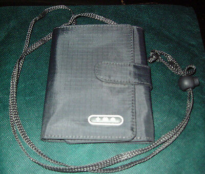 Charcoal Gray Uni Nylon Neck Pouch Travel Wallet Planes, Trains, and Automobiles