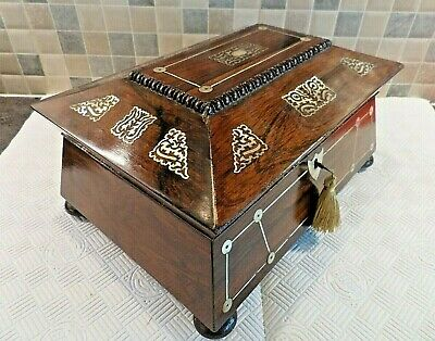 Georgian Inlaid Rosewood Sarcophagus Sewing Box With Tray + Contents- Lock & Key