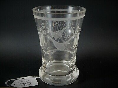 Antique Georgian or Victorian Clear Etched Garland Beaker Glass
