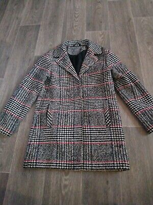 Girls Tweed Coat/jacket, checkered, red, black, beige, Age 12, From Next