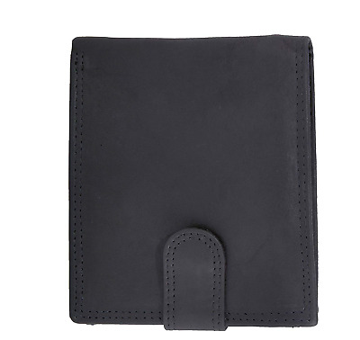 Moirento | Mens Black Trifold Leather Wallet | with RFID Blocking | Anti Proof |