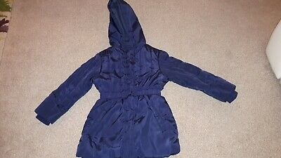 M&S Girls Navy Hooded Winter Coat Age 5-6 Yrs (Up to 116cm)