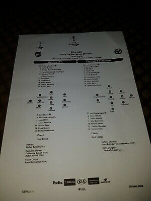 Arsenal V Eintracht Frankfurt Official Match Teamsheet 28/11/19