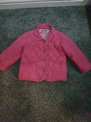 Joules Girls Quilted Padded Pink Jacket Coat Age 18/24 month's 92cm