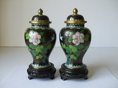 A Mirror Pair of Vintage Chinese Cloisonné Temple Vase with Stands