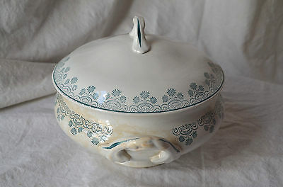 Antique French early 1900's ceramic soup tureen Digoin & Sarreguemines