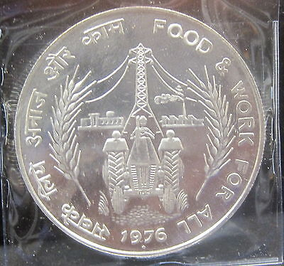 1976 India 50 Rupees Silver Proof  .5542 ASW KM257