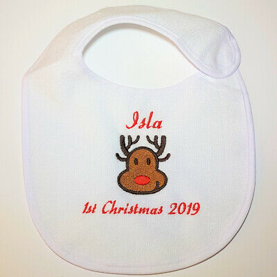 First Christmas 2019 Baby Bib Personalised Reindeer Stocking filler Gift