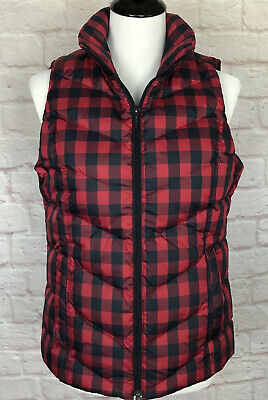 LANDS END NEW! Womens Down Vest XS Zip Puffer Plaid Navy Red Zip Warm Christmas