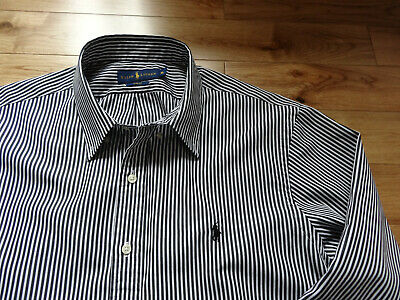 Cool 100% Genuine Ralph Lauren Men's Shirt Black and White Striped XL Excellent!