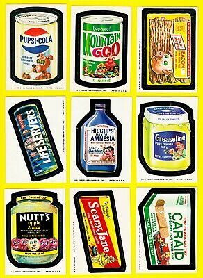 Original Wacky Packages Series 10 Full Set w/ Pupsi and both Puzzles (-4)