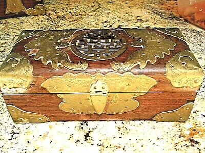 Antique 1900's Emperial China Yin Kee Co. Rose Wood Box Brass Accents Signed