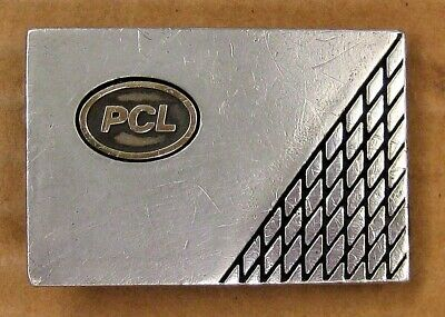 PCL CONSTRUCTION Sterling Silver & Gold BELT BUCKLE Poole Company LTD 36.8g '50s