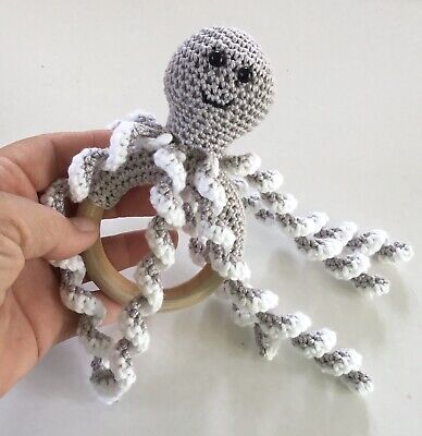 Handmade Crocheted Octopus Teething Ring / Teether / Baby Gift / Grey
