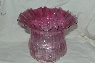Original Antique Cranberry Ribbed Optic Glass Oil lamp shade Flared Tulip 4 inch