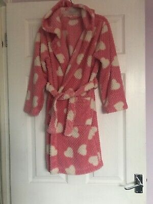 John Lewis Girl 11 Years Pink Soft Hooded Dressing Gown With Pink Hearts