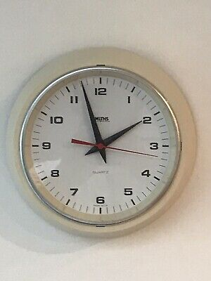 Smiths Wall Clock White Cream Battery VGC Works Well Keeps Time