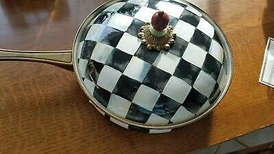 RARE MACKENZIE-CHILDS COURTLY CHECK ENAMEL COVERED SAUTE PAN RETIRED new