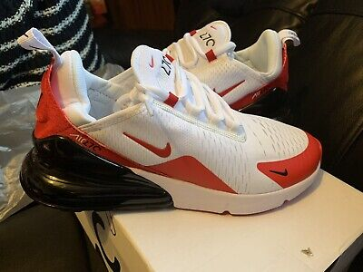 Mens Nike Air Max 270 White / Red Mesh Sports Running Trainers Uk Size 7.5