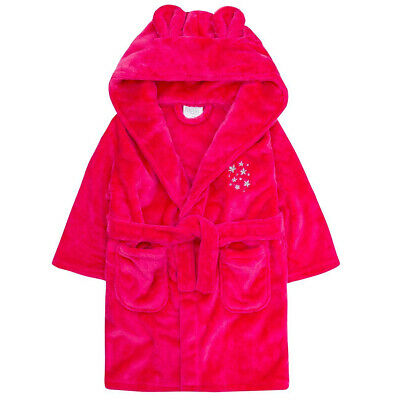 Girls Star Detail Dressing Gown Hooded Robe Soft Snuggle Fleece Cute Gift Idea
