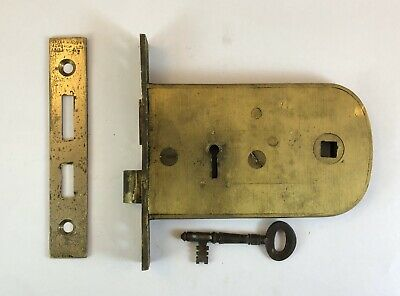 "Antique Brass mortice lock & key 4.75"" Thin Parker Winder Achurch Birmingham"