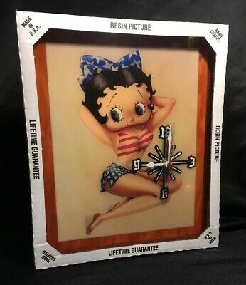 Betty Boop Pin Up Resin Picture Wall Clock By Goodtymes