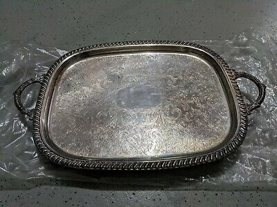 "Antique Leonard Silverplate Footed Serving Tray w/ Handles 22 1/4"" • Vintage"