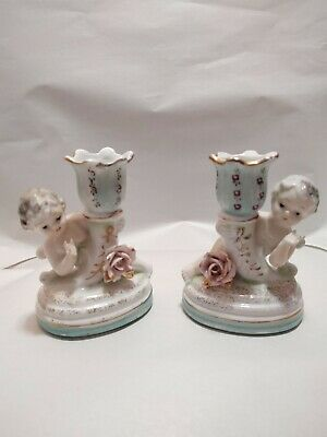 """Vintage Chase Porcelain Cherub Candlestick Holders Pair w/floral & gold 4.5"""" T"""