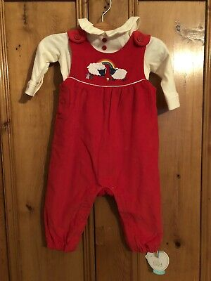 Little Bird Jools Oliver Red Cord Dungaree & Bodysuit Set Outfit 3-6 Months BNWT