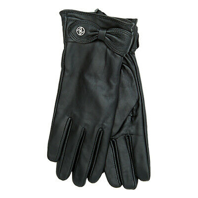 NWT Adrienne Vittadini Soft Black Leather Gloves Cashmere and Wool Lined Size L