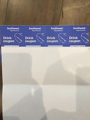 4 Southwest Airlines SWA Drink Voucher Coupons - Exp 11/30/2020