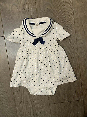 H&M Baby Girl White Sailor Collar Baby grow Top Age 4-6 Months