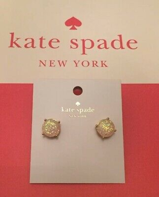 Authentic Brand New Kate Spade New York Mini Glitter Round Stud Earrings Opal