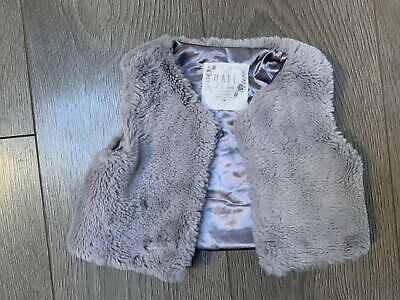 Baby Girl Grey Faux Fur Gilet Age 9-12 Months