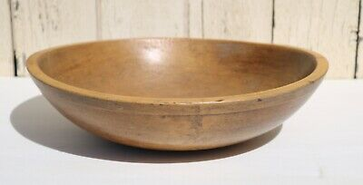 """Antique Early American Primitive 15"""" """"Round"""" Hand Turned Wood Bowl"""