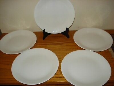 """Set Of 5 Corelle Winter Frost White 8 1/2"""" Luncheon Plates"""