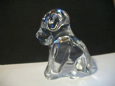 Vtg. Heavy Glass Sitting Dog Clear Candy Container