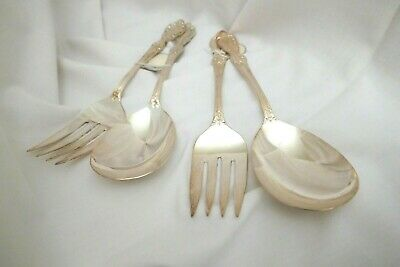 2 Vintage Wm. Rogers Grand Elegance Salad Sets, Fork/Spoon, Ex Plate,Silverplate