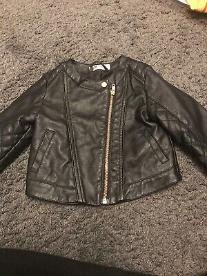 H&M Girls Age 3-4 Years Black Leather Look Jacket